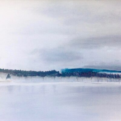 """Misty Morning, Quyon Quebec Oil on canvas 12""""x24"""""""
