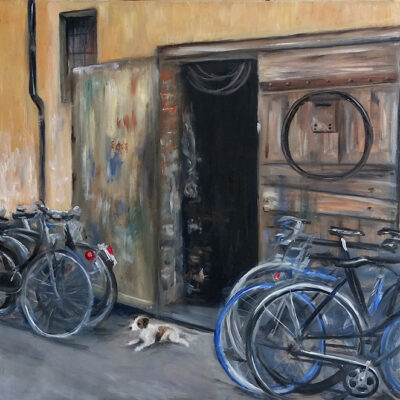 """The Bicycle Shop (Bologna, Italy) Oil 16""""x24"""""""
