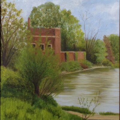 """Hampton Court, from the Thames Oil on canvas 10""""x 8"""""""