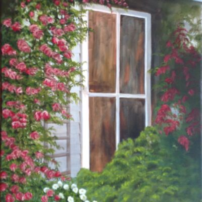 """Cottage Roses Oil on canvas 20""""x16"""""""
