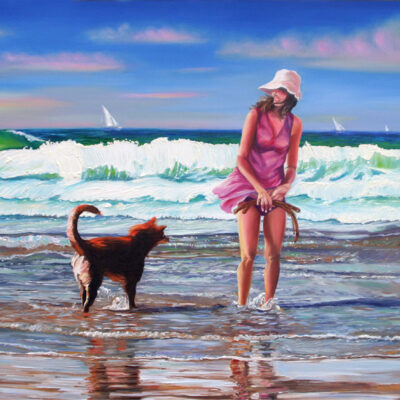 """Free as the Sea Oil on canvas (Galerie) 40""""x30"""""""